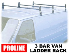 Proline Van Ladder 3 Bar Rain Gutter Roof Racks - Contractor roof racks