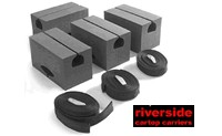 Riverside Universal foam canoe block kit that can mount to a bare car roof or snap around roof rack crossbars model 203